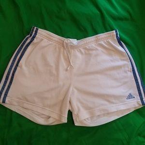 adidas Drawstring Three Stripe White Shorts